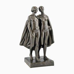 Escultura de dos desnudos con capa francesa Art Déco de bronce de Pierre Lenoir para Meroni Radice, años 20