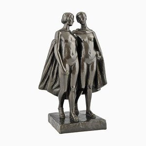 French Bronze Art Deco 2 Nudes with Cape Sculpture by Pierre Lenoir for Meroni Radice, 1920s