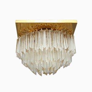 Lámpara de techo italiana vintage de cristal, años 70