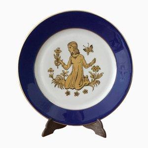 Assiette Bavaroise Vintage en Porcelaine avec Motif du Zodiaque de Schirding Porzellan, 1980s