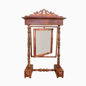 Antiker italienischer Spiegel mit Rahmen aus Nussholz