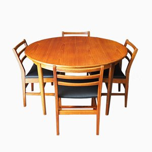 Teak & Vinyl Dining Table & Chairs Set from A&FH, 1960s