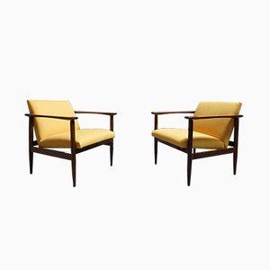 Mid-Century Danish Wooden Armchairs, 1960s, Set of 2