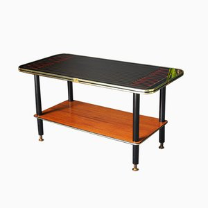 Table Basse Rectangulaire Starburst Atomic Mid-Century en Laiton et Émail, 1950s