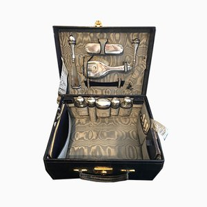 Malle en Cuir avec Accessoires en Verre et Argent de Charles Henry Dumenil, 1856