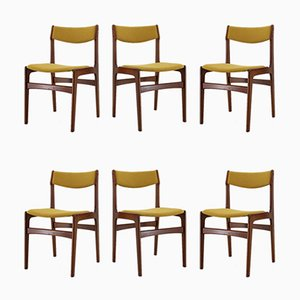 Danish Fabric and Teak Dining Chairs, 1960s, Set of 6
