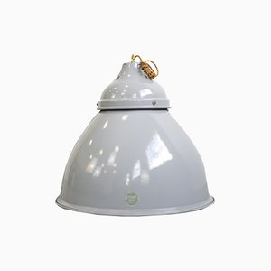 Large Grey Enamel Industrial Ceiling Lamp from Benjamin Electric Manufacturing Company, 1950s