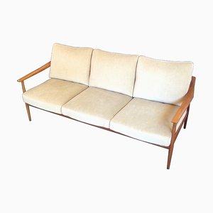Modernes 3-Sitzer Sofa mit Gestell aus Nussholz im skandinavischen Stil von Walter Knoll, 1960er