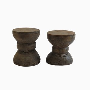 Antique Hand-Crafted Wooden Stools, Set of 2