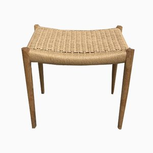 Danish Teak and Sisal Stool by Niels Otto Møller for J.L. Møllers, 1970s