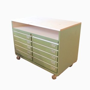 Vintage Industrial Lime Green Pine Cabinet, 1970s