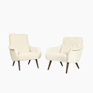Danish Teak and Textile Lounge Chairs, 1960s, Set of 2