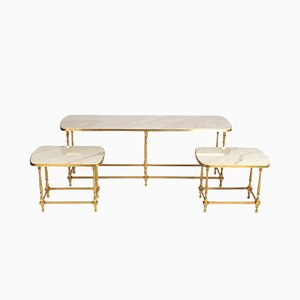 Regency Bronze and Stone Set with Console & Side Tables, 1970s