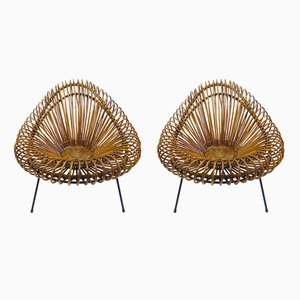 Rattan Lounge Chairs by Franco Albini, 1950s, Set of 2