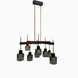 Iron, Glass, & Wood Chandelier from Stilnovo, 1960s