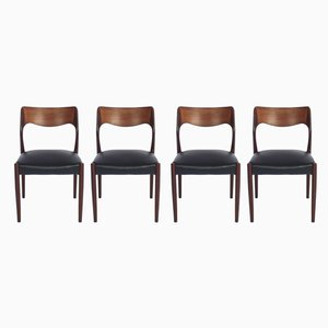 Danish Leatherette and Rosewood Model 71 Dining Chairs by Niels Otto Møller for J.L. Møllers, 1960s, Set of 4