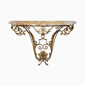 Brass & Marble Console Table by Pier Luigi Colli, 1950s