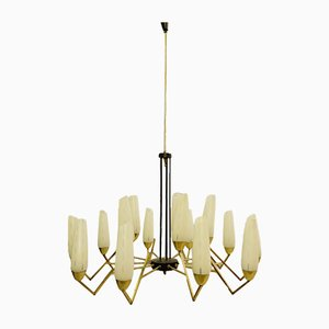 Italian Brass and Opaline Glass Chandelier, 1960s