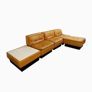 Vintage Italian Leather Modular Sofa from Saporiti Italia, 1970s