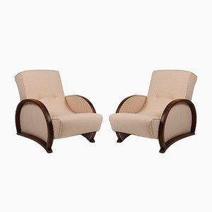 Art Deco Bentwood and Cotton Armchairs, 1920s, Set of 2