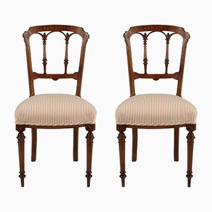 Antique Cotton and Walnut Dining Chairs, Set of 2