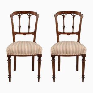 Chaises de Salle à Manger Antiques en Noyer et Coton, Set de 2