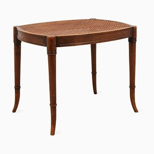 Mid-Century Regency Mahogany and Cane Stool, 1960s