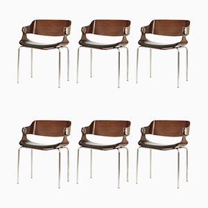 German Bentwood and Leather Dining Chairs by Eugen Schmidt for Soloform, 1960s, Set of 6