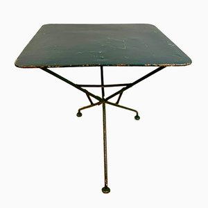 Mesa de campaña inglesa antigua de hierro forjado pintada