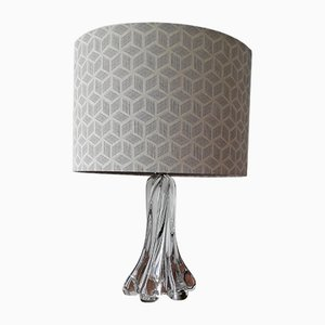 Mid-Century French Fabric and Glass Table Lamp, 1950s