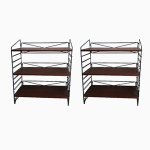 Lacquered Metal & Mahogany Veneer Shelving Units, 1979, Set of 2