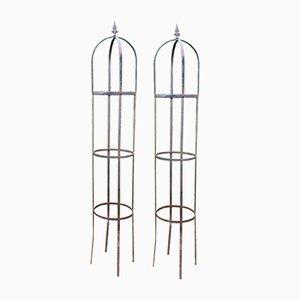 Obelischi da giardino vintage in ferro battuto, set di 2