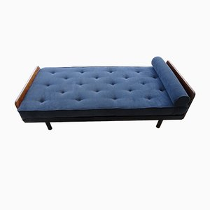 Sofá cama nº 452 francés de caoba y metal de Jean Prouvé para Steph Simon, 1951