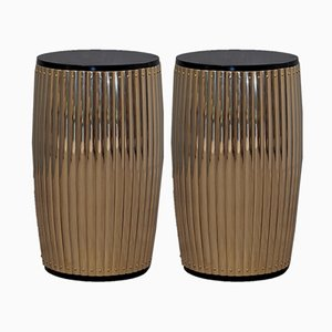 Italian Brass and Plywood Side Tables, 1960s, Set of 2