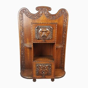 Antique Arts & Crafts Carved Oak Hall Stand