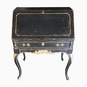 Scrivania neoclassica in olmo e foglia d'oro, anni '30