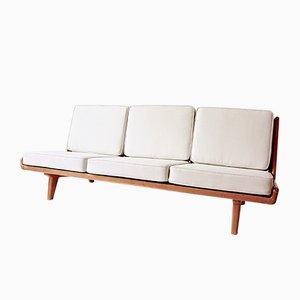 Canapé en Cuir et Chêne par Carl Gustaf Hiort af Ornäs pour Puuntveisto Oy, 1950s