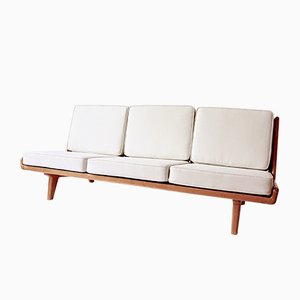 Leather and Oak Sofa by Carl Gustaf Hiort af Ornäs for Puuntveisto Oy, 1950s