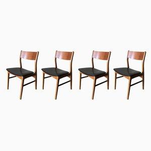 Dänische Esszimmerstühle aus Kunstleder & Teak, 1960er, 4er Set