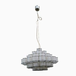 Glass and Metal Chandelier by Angelo Brotto for Esperia, 1970s