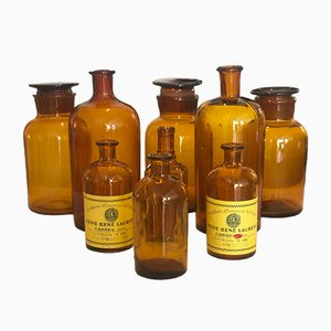 Vintage Apothecary Bottles, Set of 9