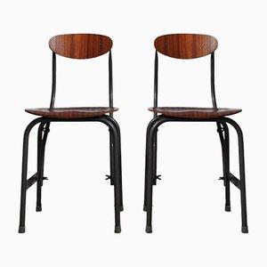 Industrielle dänische Mid-Century Schreibtischstühle aus Eisen & Teak von Fritz Hansen, 2er Set