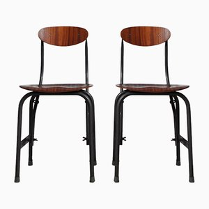 Mid-Century Industrial Danish Iron and Teak Desk Chairs from Fritz Hansen, Set of 2
