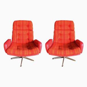 Moderne Sessel mit Stoffbezug & Gestell aus Aluminium im skandinavischen Stil, 1960er, 2er Set