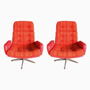 Scandinavian Modern Aluminum and Fabric Lounge Chairs, 1960s, Set of 2