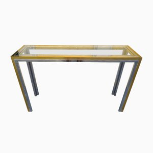 Brass and Chrome Plating Console Table, 1970s