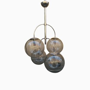 A564 Glass and Metal Chandelier with 4 Glass Globes from Candle, 1970s