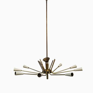 Lámpara de araña Mid-Century de metal con pantallas cónicas, años 50