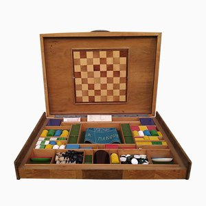 Walnut and Brass Games Box, 1940s