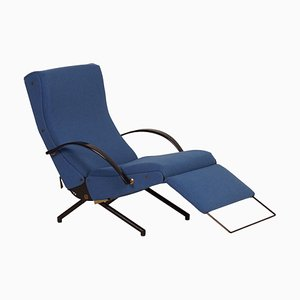 Model P40 Brass & Fabric Lounge Chair by Osvaldo Borsani for Tecno, 1950s